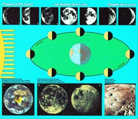 Lehrtafel Der Mond und seine Bewegungen, 120x80 cm