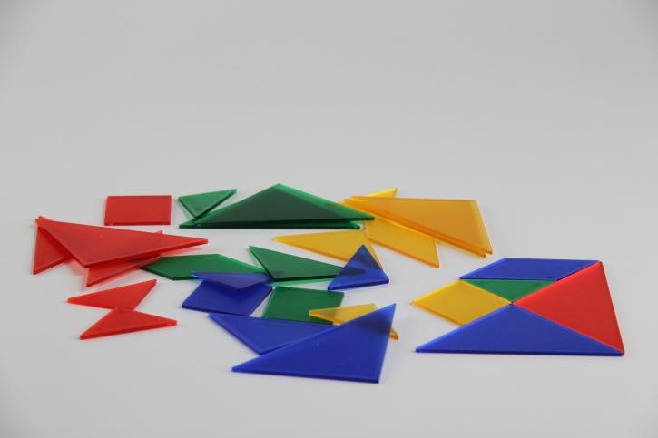 Tangramsatz, 28 Teile, aus transparentem Kunststoff, für OHP