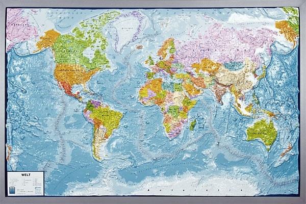 Reliefkarte Silverline, Welt, politisch, englisch, im Holzrahmen