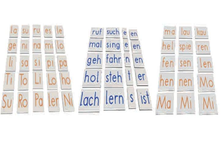Zusatzelemente Deutsch, Silben und Wortstämme für Legekasten