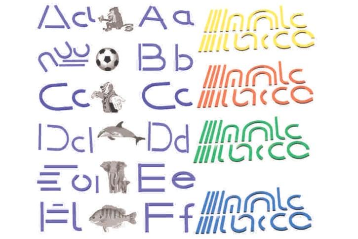 Buchstabenelemente zum Legen von Druckbuchstaben, grün