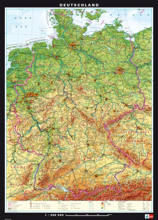 Wandkarte Deutschland, physisch/politisch
