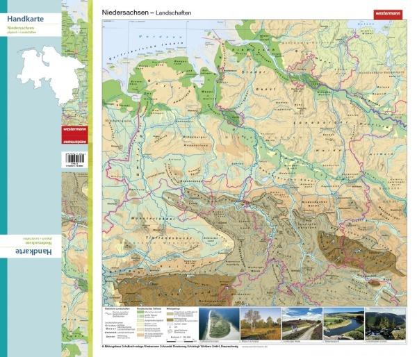 Handkarte (im 10er Set) Niedersachsen, physisch/politisch