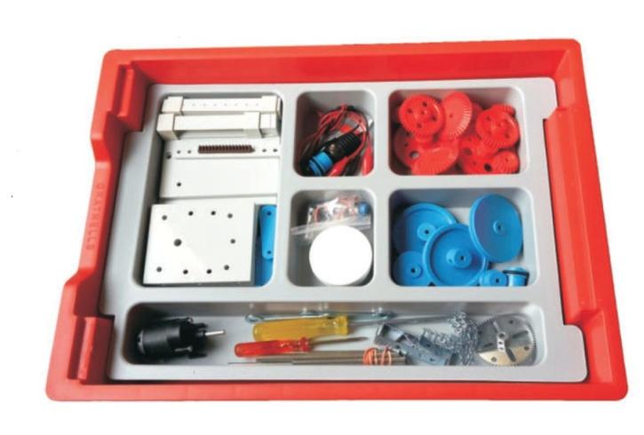 Technischer Baukasten, Maschinen und Getriebe, im Kunststoffkasten