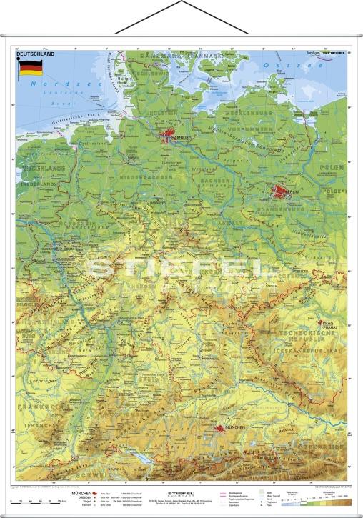 Wandkarte Deutschland, physisch, Format: 120x160cm