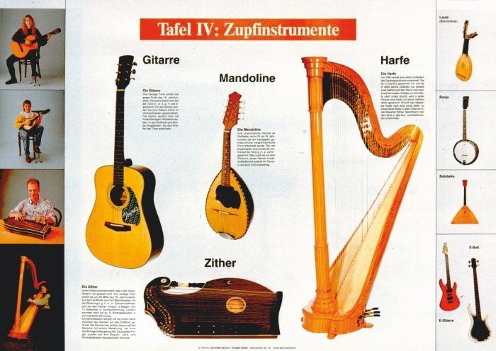 Lehrtafel zur Instrumentenkunde, Zupfinstrumente