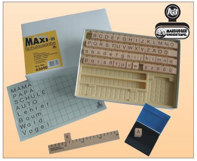 Druckerei Maxi III, Schulausgabe Normalschrift, 59 Buchstabenstempel