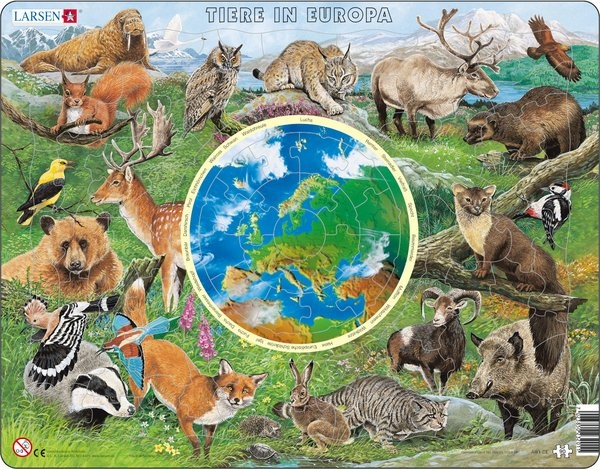 Puzzle - Tiere in Europa, Format 36,5x28,5 cm, Teile 90