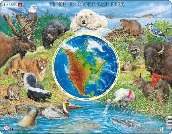 Puzzle - Tiere in Nordamerika, Format 36,5x28,5 cm, Teile 90