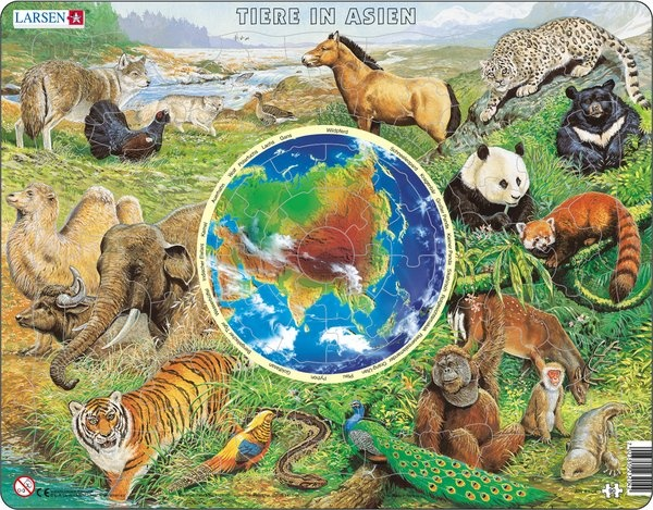 Puzzle - Tiere in Asien, Format 36,5x28,5 cm, Teile 90