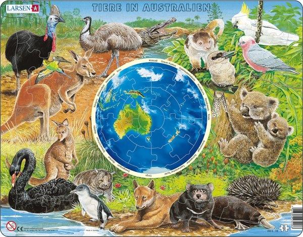 Puzzle - Tiere in Australien, Format 36,5x28,5 cm, Teile 90
