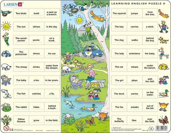 Puzzle - Learning English Puzzle 9, Format 36,5x28,5 cm, Teile  54