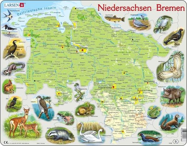 Puzzle - Niedersachsen und Bremen, physisch, Format 36,5x28,5 cm