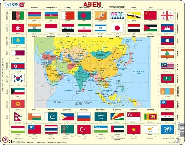 Puzzle - politische Karte und Flaggen - Asien, Format 36,5x28,5