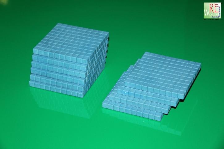 Farbige Dienes Hunderterplatte, 10 Stück aus RE-WOOD®, blau