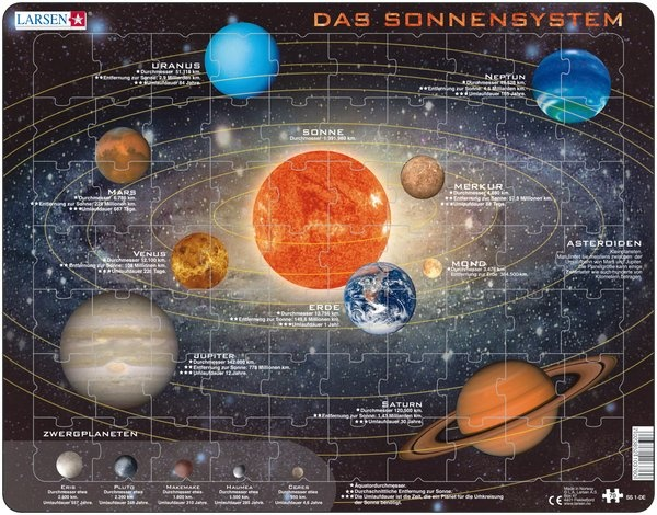 Puzzle - Sonnensystem,  Format 36,5x28,5 cm, Teile 70
