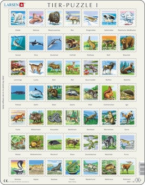 Puzzle - Tiere 1, Format 36,5x28,5 cm, Teile 49
