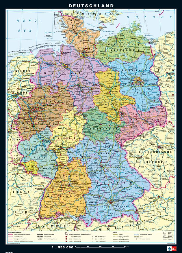 mittelformat wandkarte deutschland physpol lehrmittel