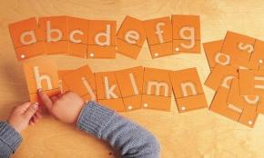 Sandpapier -Buchstaben, Druckschrift Kleinbuchstaben