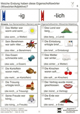 Bergedorfer Colorclips, Grammatik 3, Adjektive