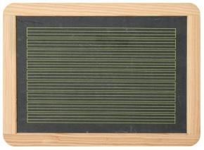 Schiefertafel 29,5 x 21,8 cm mit Zeilen zum Schreiben auf einer