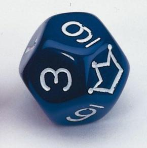 Zwölfflächige Schulwürfel 0-10 und Joker, blau