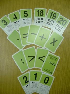 Ziffernkartenset 0 bis 20, Mengensymbole u. Rechenzeichen