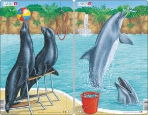 Puzzle - Robben und Delfine, Format 28,5x18,3 cm, Teile 25