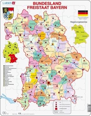 Puzzle - Freistaat Bayern, politisch, Format 36,5x28,5 cm, Teile