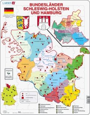 Puzzle - Hamburg und Schleswig-Holstein, politisch, Format 36,5x
