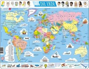 Puzzle - Die Erde, politisch,  Format 36,5x28,5 cm, Teile 107